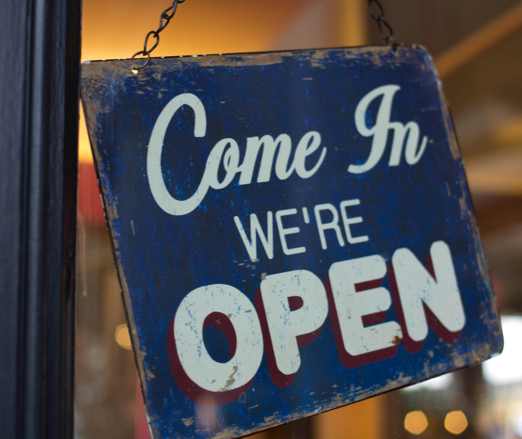 We're open (source: Enrico Donelli/Flicker)