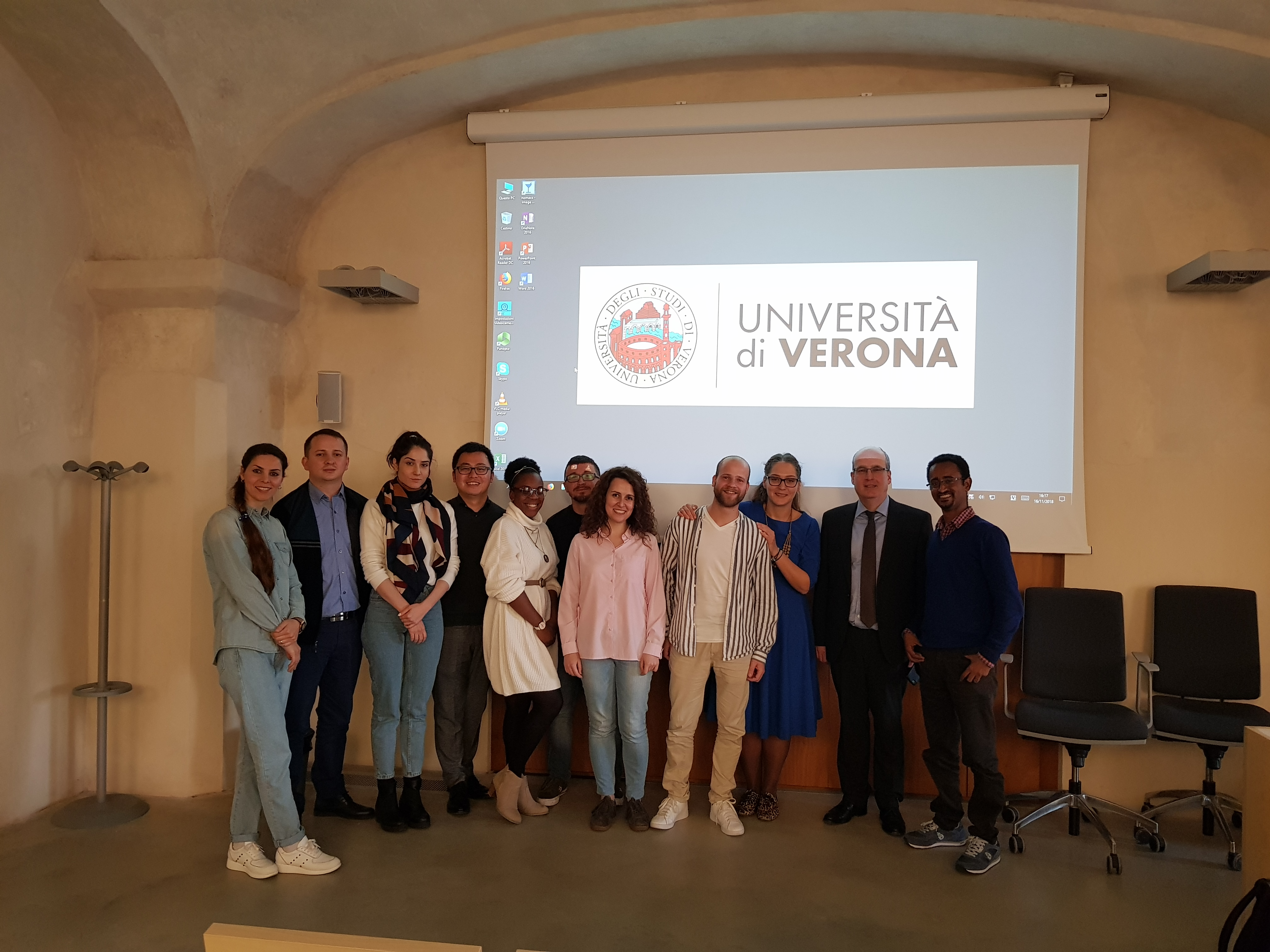 Klaus Haupt (REA - European Commission) and the INVITE PhD students (Verona, 16/11/2018)