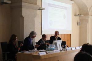 From the left: Vanda Lanzafame (MIUR), Bruno Giordano (Confidustria Verona), Santo Romano (Region of Veneto), Nicola Sartord (University of Verona). First INVITE conference (Verona, 16/11/2018)
