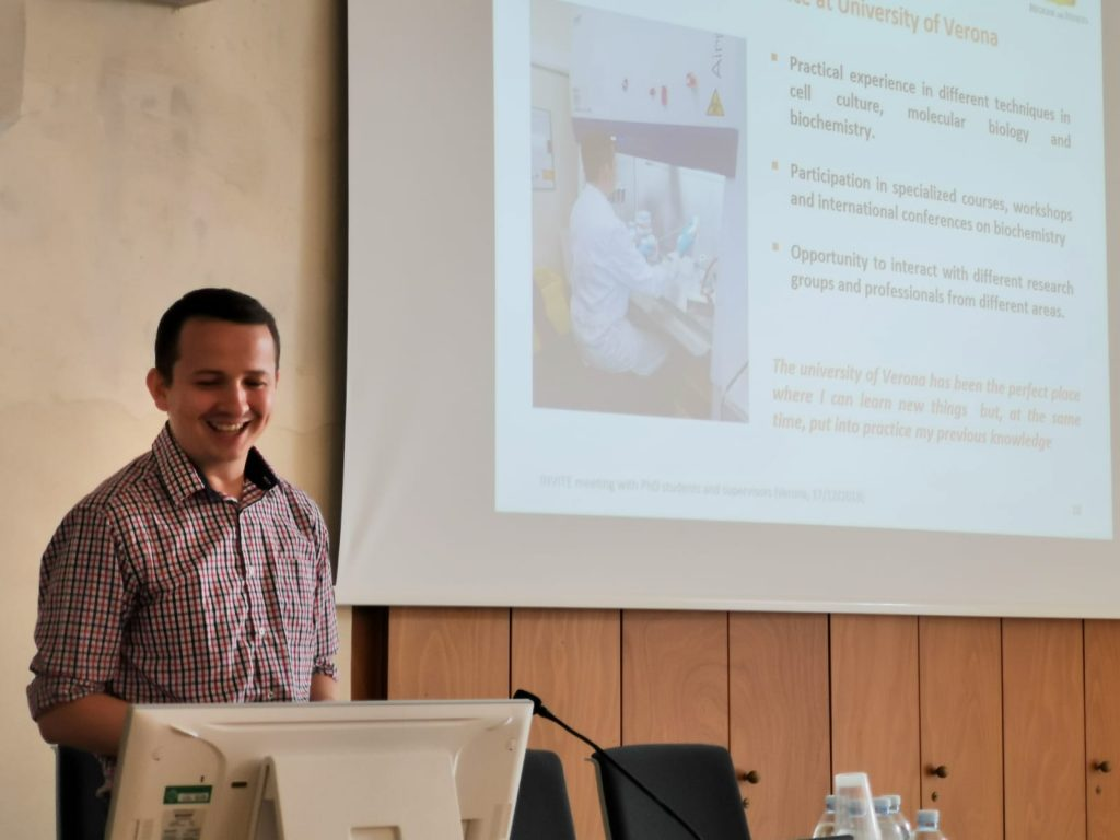 Cristian Andres Carmona Carmona at the Mid-term review visit (Verona, 17/9/2019)