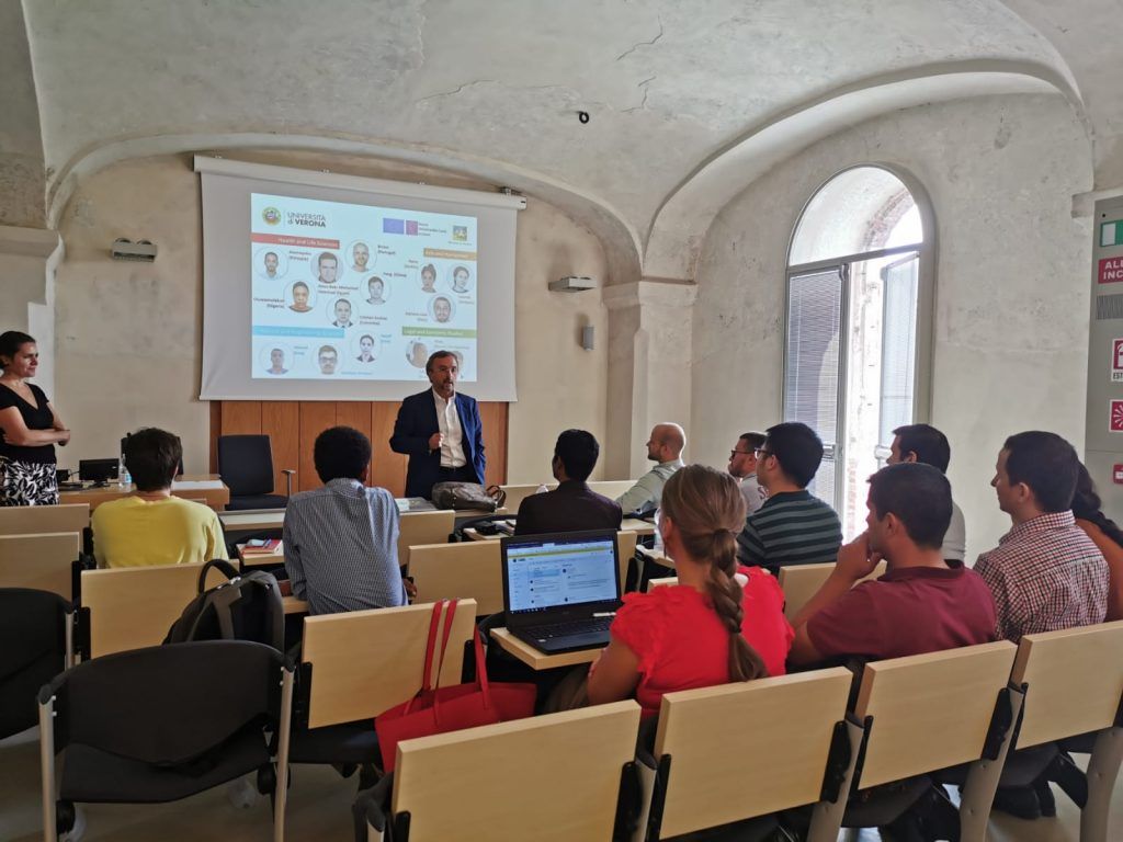 Prof Pezzotti presents the INVITE fellows during the Mid-term review visit (Verona, 17/9/2019)