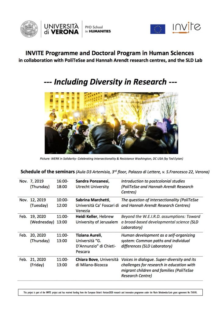 "A series of seminars titled ""Including Diversity in Research"" will take place fromNovembre 2019 and February 2020"