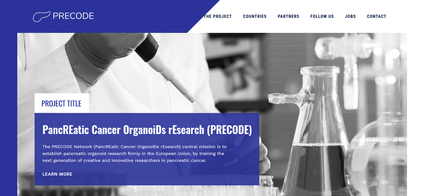 A screenshot of the PRECODE project website