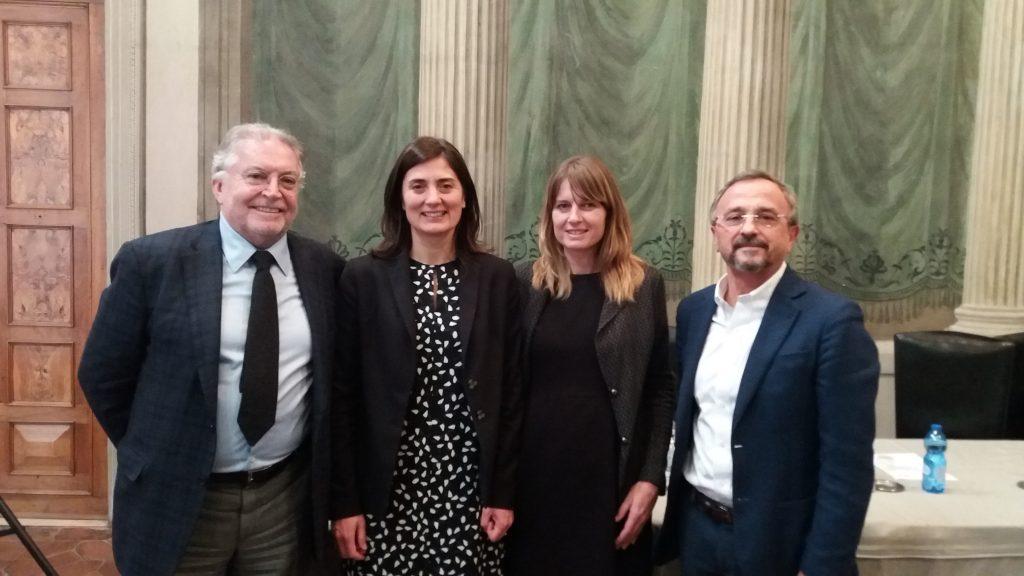From left to right: Gilberto Antonelli, Chiara Biglia, Claudia Barale  and MArio Pezzotti (Second INVITE annual workshop, Verona 4/12/2019)