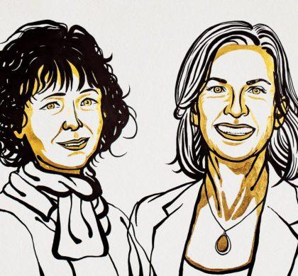 Emmanuelle Charpentier and Jennifer A. Doudna, (© Nobel Media. Ill. Niklas Elmehed.)